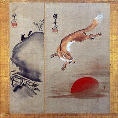 Fox and Sunset by by Kawanabe Kyosai