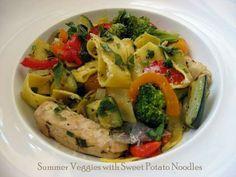 Summer Veggies with Sweet Potato Noodles