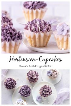 Rezept für Hortensien-Cupcakes Cooking Chef, Cooking Recipes, Hydrangea Cupcakes, Healty Dinner, Food Articles, Mini Muffins, Cupcake Recipes, Mini Cupcakes, Love Food