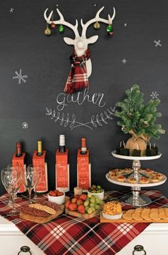 Festive Wine and Cheese Holiday Party with delicious party snacks and fun decorations. This blind wine tasting party includes full menu and decoration ideas.