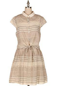 STRIPE SHIRT DRESS W/ KNOT DETAILS.  #16D-MD3132