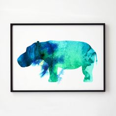 Hippo watercolor. Wildlife decor. Animal print.  Printed on high quality art paper.  SIZES:  8.3 x 11.7 (A4) 11.7 x 16.5 (A3)  This print comes
