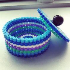 Box hama perler by majbrit_t Diy Perler Beads, Perler Bead Art, Pearler Beads, Plastic Bottle Caps, Bottle Cap Art, Pixel Beads, Fuse Beads, Melted Pony Beads, Bottle Top Crafts