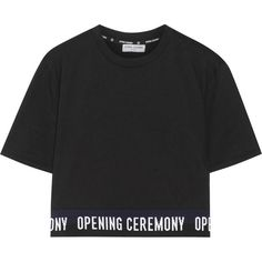 Opening Ceremony Cropped cotton-jersey T-shirt (700 DKK) ❤ liked on Polyvore featuring tops, t-shirts, crop top, shirts, t shirt, woven shirts, opening ceremony t shirt, crop shirt, crop tee and logo t shirts