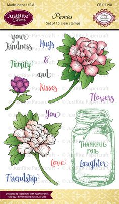 JustRite Papercraft October Release - Peonies Clear Stamps and Peonies and Mason Jar Dies | JustRite Papercraft Inspiration Blog