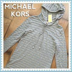 MICHAEL KORS • Striped Hoodie Pullover Blue Gray S Brand new with tags.  $110 Retail. MICHAEL Michael Kors Tops Sweatshirts & Hoodies