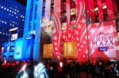 Incoming election results lend themselves well to the use of projection mapping. In 2008, NBC superimposed an interactive map on the ice skating rink at Rockefeller Center and projected the number of electoral college votes on one of the surrounding buildings.