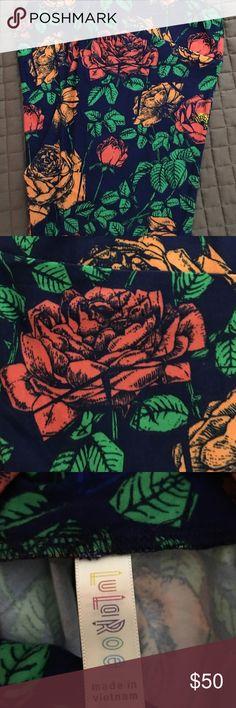 SALE LuLaRoe TC Leggings Roses NWT Blue background with pink and yellow-orange roses LuLaRoe Other