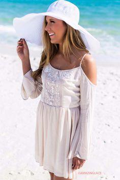 Adore Me Cream Open Shoulder Bell Sleeve Embellished Peasant Dress