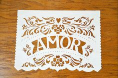 Papel Picado Banner AMOR FILETEADO. custom color by AyMujer