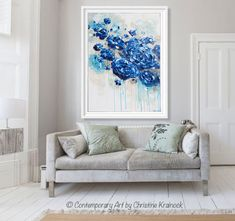 """True Blue"" Large #Art Blue Abstract Painting Giclee Print / Canvas print. Navy Blue White Floral Coastal Painting Botanical Flowers LARGE Wall Art Modern Coastal Home Decor Blue White Taupe Teal. SELECT SIZE -Contemporary, California Artist, Christine Krainock - Contemporary Art by Christine"