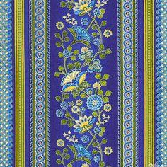 Arabella - Prussian Floral Stripe - Marine Blue