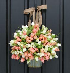 Tulips Farmhouse Door Wreaths Tulips Mother's Day by twoinspireyou