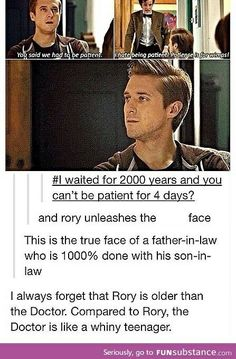 One of my favourite posts.Doctor and Rory. I never really pondered the fact that Rory is older than the Doctor. Rory would be a fantastic history teacher. Doctor Who, 11th Doctor, Sherlock, Virginia Woolf, David Tennant, Dr Who, Out Of Touch, Fandoms, Don't Blink