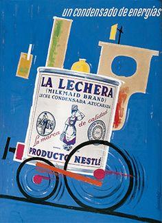 Cartel La Lechera años 60 – Anuncios vintage Nestlé                                                                                                                                                                                 Más