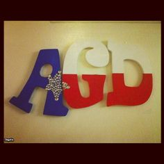 Hobby Lobby Letters, Painted in red, white and blue. (in the Texas Flag pattern)  to make the star! Cute Alpha Gamma Delta Blocks! Costs about $20 ΑΓΔ
