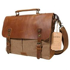 f71a4a68cb28 online shopping for Lifewit Leather Laptop Satchel Messenger Bag Canvas  Briefcase