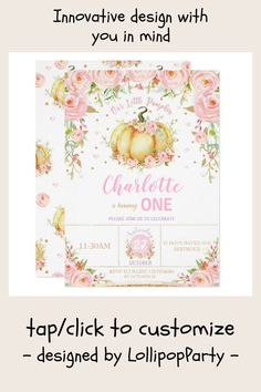 Shop Our Little Pumpkin First Birthday Girl Floral Invitation created by LollipopParty. Floral Invitation, Pumpkin 1st Birthdays, First Birthdays, Girl First Birthday, 1st Birthday Parties, First Birthday Invitations, Party Invitations, Little Pumpkin