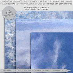 """Free scrapbook papers """"Painted clouds"""" from Cesstrelle"""