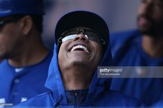 Marcus Stroman of the Toronto Blue Jays in the dugout during MLB game action against the Tampa Bay Rays on September 2015 at Rogers Centre in Toronto, Ontario, Canada. Marcus Stroman, Rogers Centre, Mlb Games, Tampa Bay Rays, Toronto Blue Jays, Crowd, Mens Sunglasses, Baseball, People