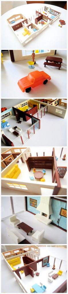 """Mid-Century Modern Ranch Dollhouse (""""Magnetic Doll House"""" by Child Guidance)"""
