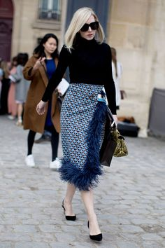 The Best Street Style At Paris Fashion Week Autumn Winter 2017, modest black turtle neck patterned feathred midi skirt.