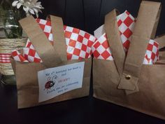Picnic-themed 1st birthday...picnic basket goodie bags made out of brown paper bags!