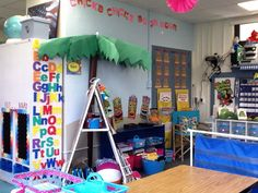 Mrs. Greene's Kindergarten Korner: palm tree coming out of the wall.
