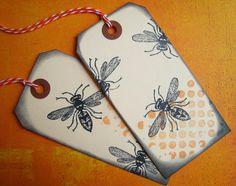 Black bees handmade gift tags. $4.50, via Etsy.