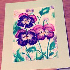 Pansy card by Katie Pie Kards by Kelly Hardisty 2015.