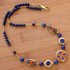 "RJ14 Nepalese Handmade Brass Lapis Coral Necklace 24"" from Nepal #Eksha #Necklace"