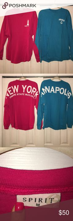 Set of 2 spirit jerseys One New York (Empire State building) and knee Annapolis spirit jersey. Both only worn once or twice. Both in medium. Tops Tees - Long Sleeve