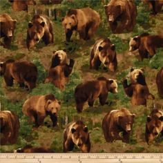 Kanvas The Great North Wilderness Flannel Brown Bear Green from @fabricdotcom  Designed by Maria Kalinowski for Kanvas, in association with Benartex, this single napped, cotton flannel, wilderness themed print fabric is perfect for quilting, blankets, apparel, crafts, and home decor items. Colors include shades of green, shades of brown and black.