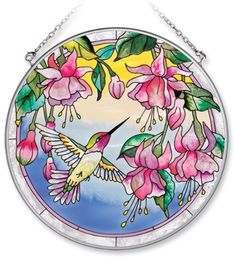 Amia Handpainted Glass Hummingbird and Fuchsia Suncatcher, 6-1/2-Inch by Amia