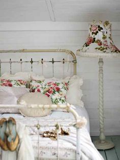 white cottage bedroom with a touch of roses