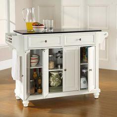 Crosley Furniture KF30004DWH Cambridge Solid Black Granite Top Kitchen  Island In White Finish