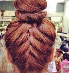 French Braid up back of hair and rest in a bun!