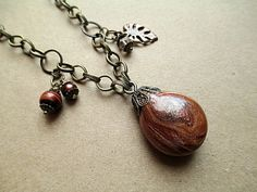 Brown Pendant Bead Necklace Beaded Jewelry by LittleBitsOFaith, $32.00