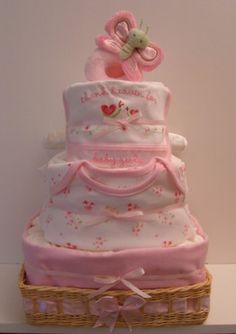Baby Girl Deluxe Square Pink Diaper Cake, with Onesie and Wicker Basket - The Flourless Bakery