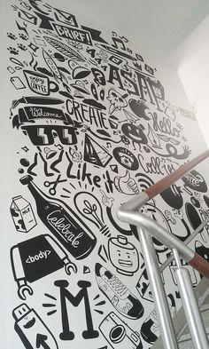 Agency life by piotr jakubowski, via behance office wall design, office mural, office Office Mural, Office Walls, Office Art, Office Icon, Office Spaces, Office Ideas, Deco Miami, Doodle Wall, Deco Restaurant