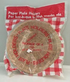 New Lot 4 Vintage Wicker Rattan Bamboo Paper Plate Holders Barbeque Cookout #MrBarBQ & Wicker Rattan Paper Plate Holders lot of 12 Picnic BBQ Camping ...