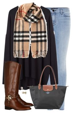 """""""burberry"""" by tex-prep ❤ liked on Polyvore featuring J Brand, Organic by John Patrick, Burberry, Tory Burch, Majorica and Longchamp"""