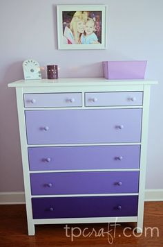 princess sophia bedroom for princess Peyton Purple Ombre Dresser. princess sophia bedroom for princess Peyton, Furniture Makeover, Diy Furniture, Antique Furniture, Furniture Design, Outdoor Furniture, Girl Dresser, Purple Dresser, Closet Dresser, Purple Rooms