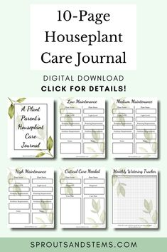 """Grab your copy of """"A Plant Parent's Houseplant Care Journal."""" This 10-page printable journal is everything you need to track the needs of all of your plants in one place 