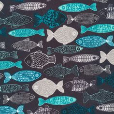 Cloud 9 - First Light - Eloise Renouf - Shoal in Navy Organic by Bobbie Lou's Fabric Factory Fabric Factory, Fish Quilt, Polycotton Fabric, Geometric Pattern Design, Cloud 9, Letter Art, Square Quilt, One Light, Fabric Patterns