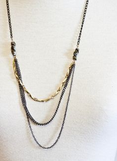 Mixed Chain Necklace with Pyrite Stones by CSfootprints on Etsy, $35.00
