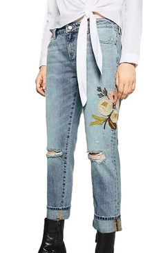 Taylor, Floral Embroidery Denim Jeans