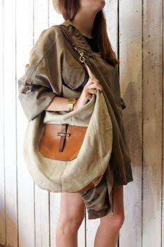 "Handmade Italian  Vintage Leather Tote & Vintage fabric ""NEW Saint Tropez "" di LaSellerieLimited su Etsy"