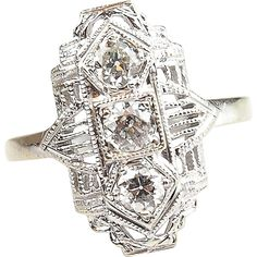 Art Deco 14k White Gold .33 ctw Diamond Ring