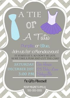 Ties and Tutus Gender Reveal Party Invitation Chevron by DaxyLuu, $15.00